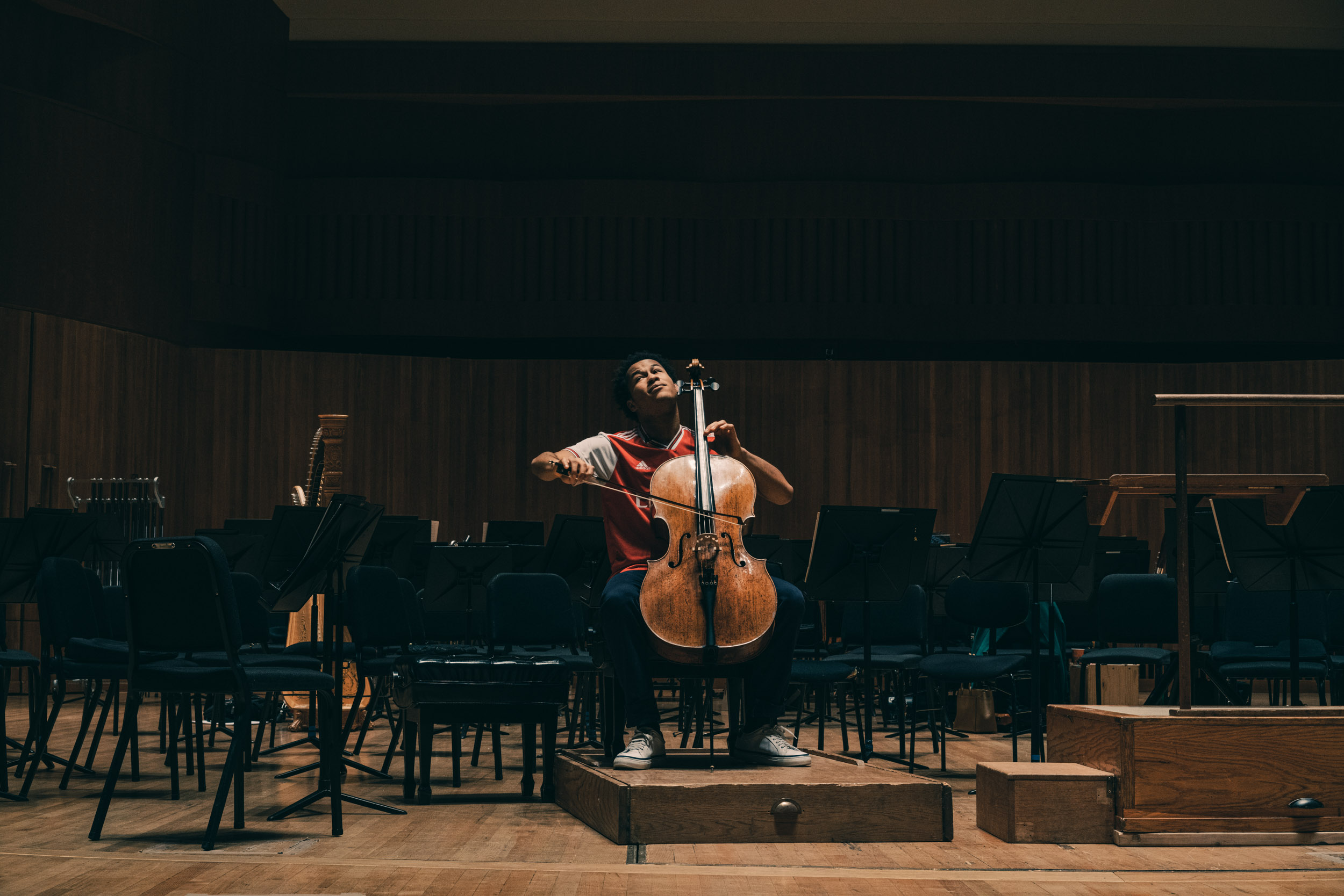 Sheku Kanneh-Mason, a famous cellist from London, rehearses before others arrive at the Baltimore Symphony Orchestra
