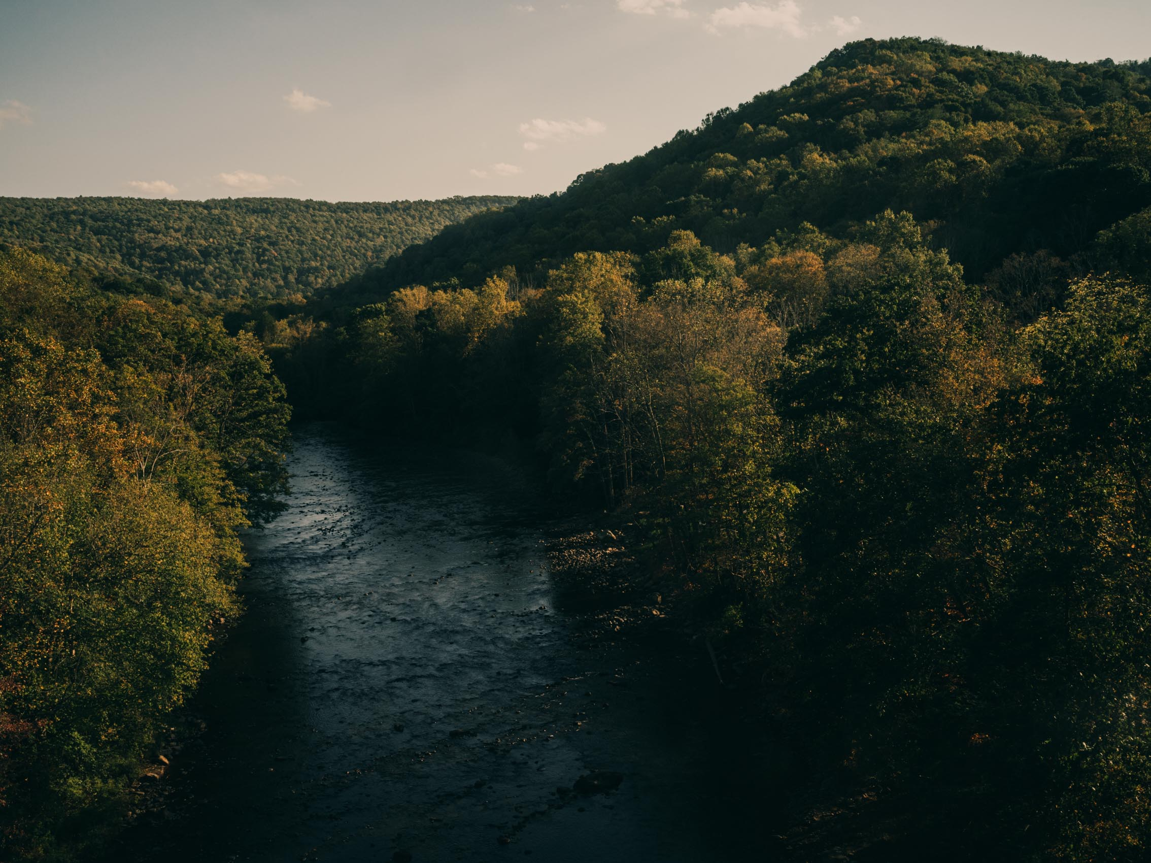 Youghiogheny River with trees and mountains