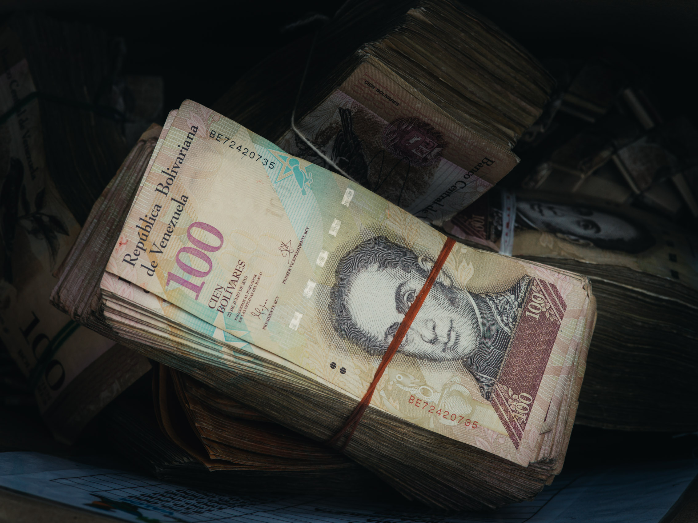 A stack of worthless Bolívares, the currency of Venezuela