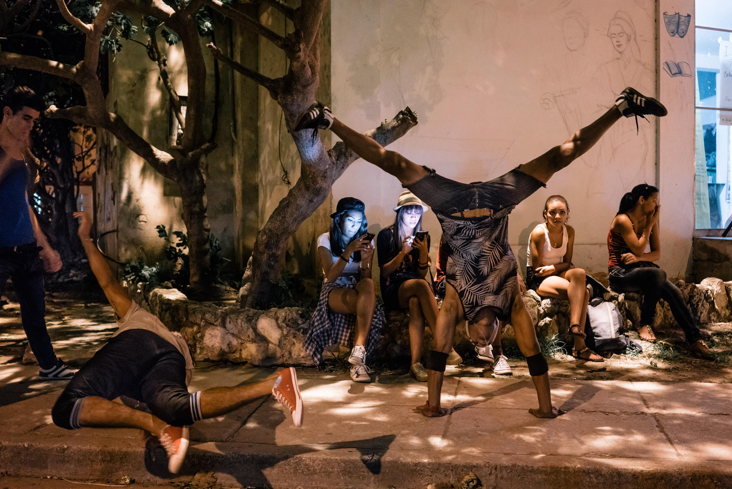 dancers stretch and warm up in Havana