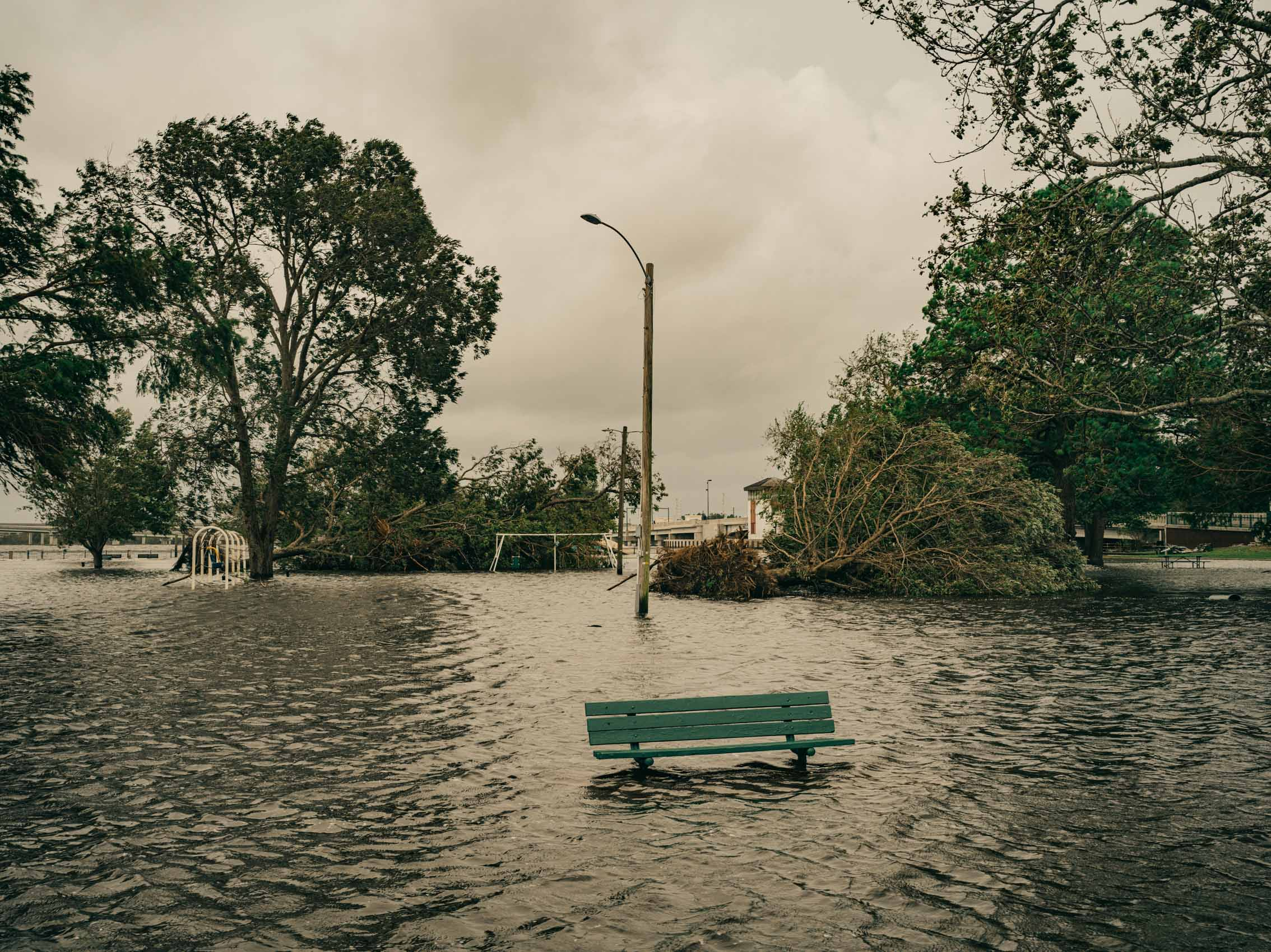 park and bench underwater in new bern after hurricane
