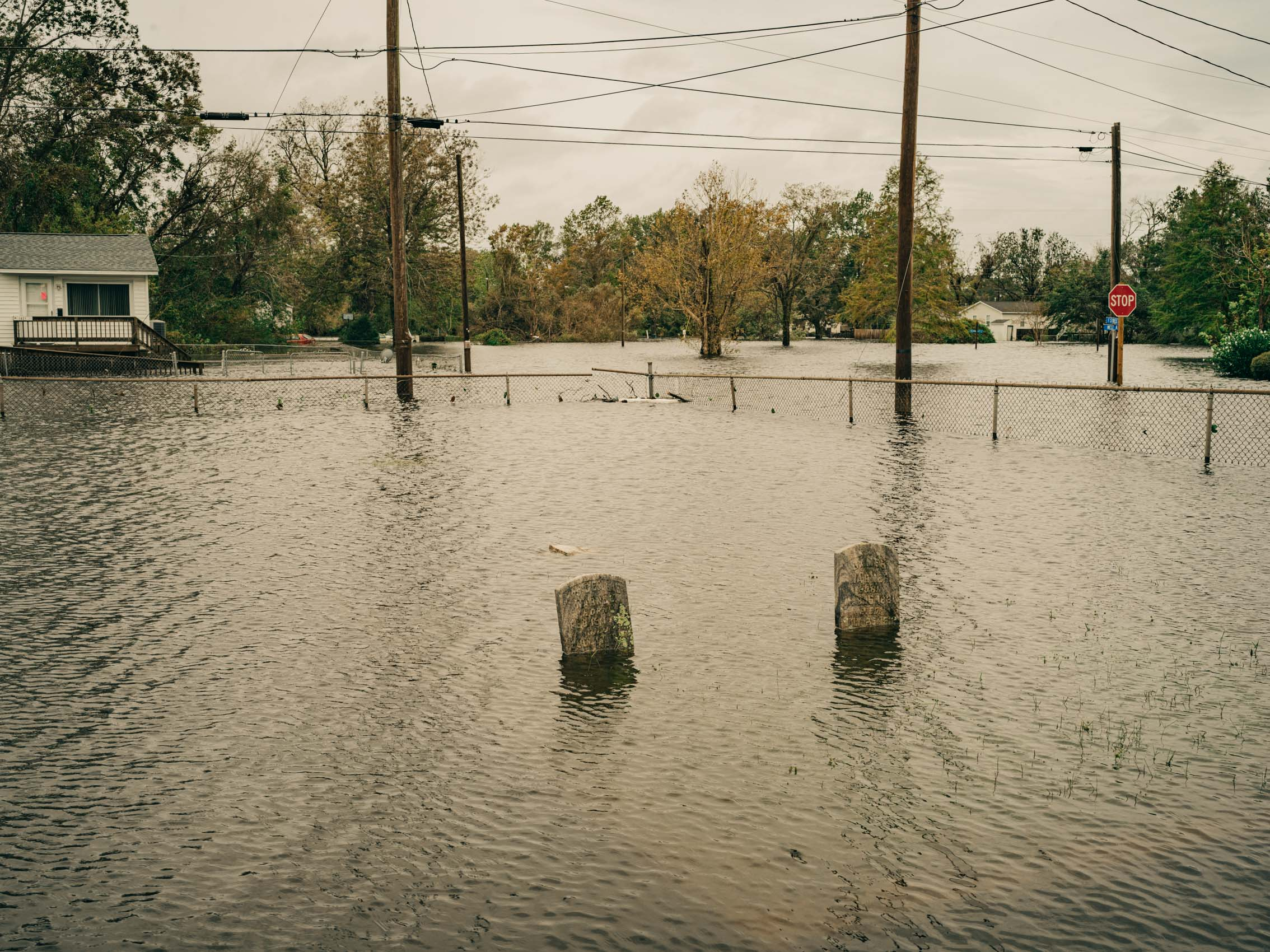 flooded cemetery from hurricane Florence